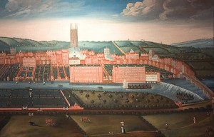 'The East Prospect of Derby, c. 1728'. The two large brick buildings in the centre of the painting, on an island in the river, are Thomas Lombe's silk factories, on the left the three-story doubling works and on the right the five-story, water-powered throwing works.