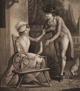 'Jockey and Jenny', printed engraving, 1783. The accompanying verses read: 'Till bolder grown so close he press'd His wanton thoughts I quickly guess'd Then push'd him from my Rock and Reel And angry turn'd my Spinning Wheel'.