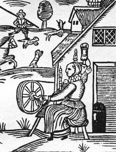 Woodcut of a woman spinning, c.1620.